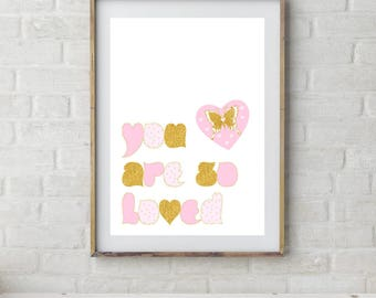 You Are So Loved, Printable Nursery Art, Pink & Gold, Baby Girl Nursery Art, Nursery Printable, Pink Nursery Printable, Printable Kids Art