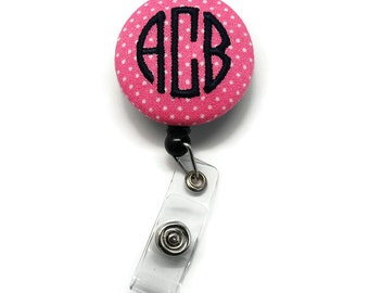 Hot Pink & Black 3 Letter Circle Monogram Large Fabric Button Badge Reel Retractable ID Holder Choice of Clip - Preppy Swiss Dots