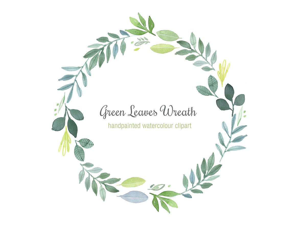 Hand painted watercolor wreath green leaves clipart foliage for Watercolor greenery