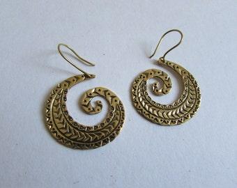 Spiral Brass Tribal etchings, Earrings handmade,Tribal Earrings with hooks, Nickel Free, Indian Jewellery, Gift boxed,Free UK postage BG9