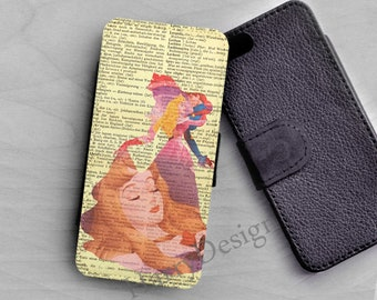 iPhone 8 Wallet case Sleeping beauty iPhone X case iPhone 7 plus case, Samsung Galaxy S8 plus S7 S6 s5  case Samsung Note 8 7 6 5 4 wallet