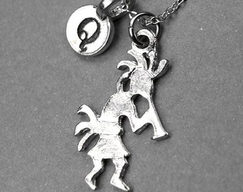 Kokopelli  necklace, Kokopelli charm necklace, personalized jewelry, personalized necklace, initial necklace, initial charm, monogram charm