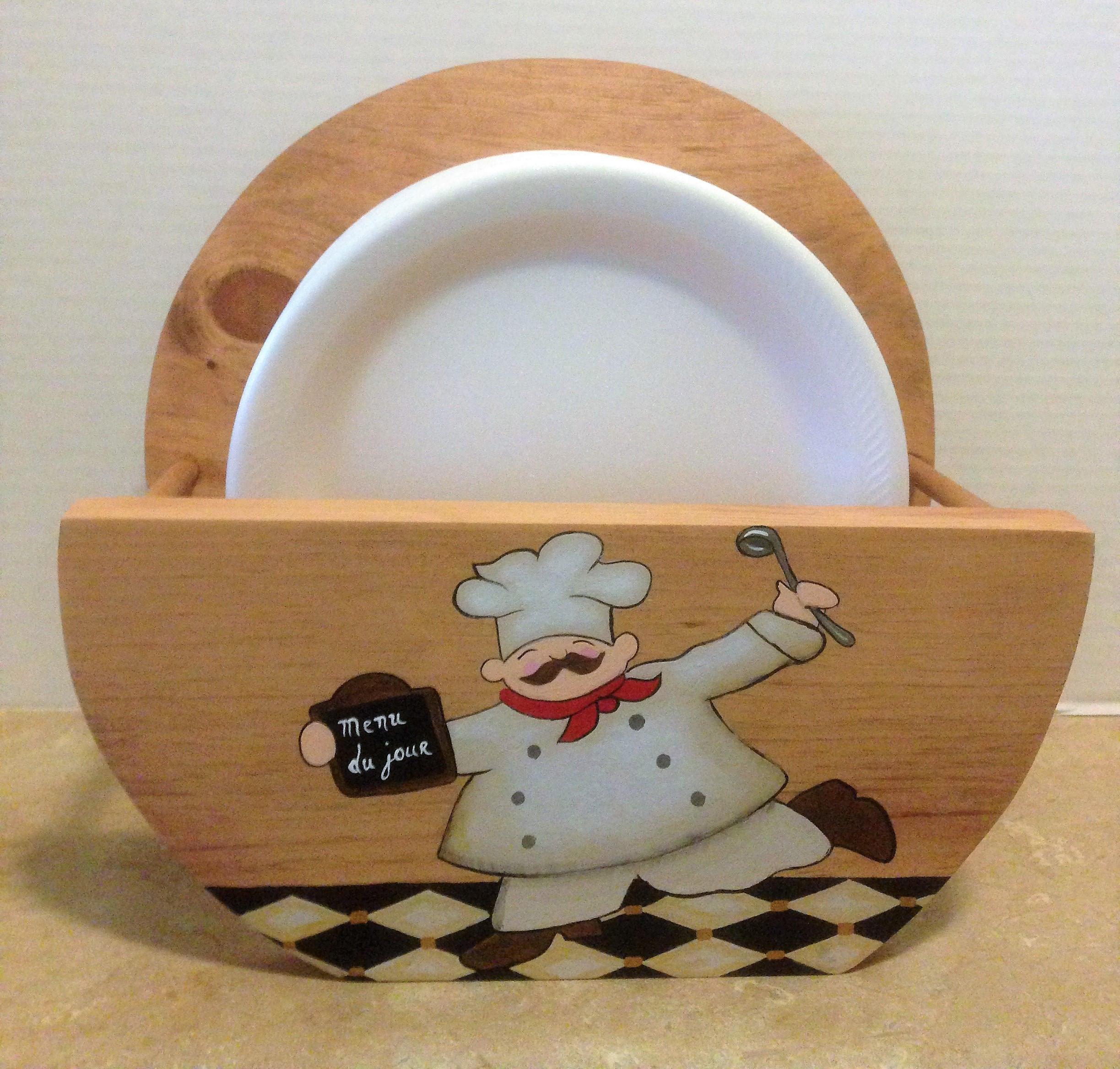Paper Plate Holder Chef Decor Chef Kitchen Decor Holder for Plates Wooden Plate Holder Chef Theme Chef Kitchen Theme Plate Storage & Paper Plate Holder Chef Decor Chef Kitchen Decor Holder for ...