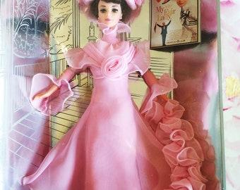 Vintage 1995 NRFB Barbie as Eliza Doolittle in My Fair Lady Pink Organza Dress, Audrey Hepburn Hollywood Legend 15501
