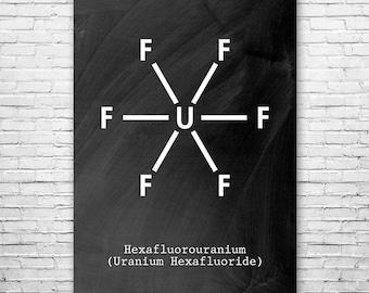 Uranium Hexafluoride UF6 Molecule Poster Science Art Print, UF6 Poster, Uranium Poster, Nuclear Poster, Nuclear Art, Chemistry Art, Wall Art