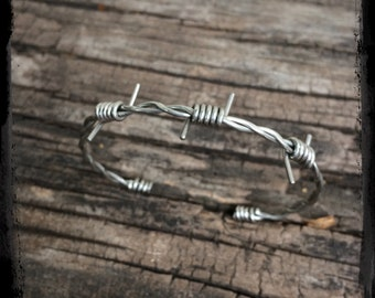 Barbed Wire Cuff Bracelet - Stainless Steel, Copper or Black