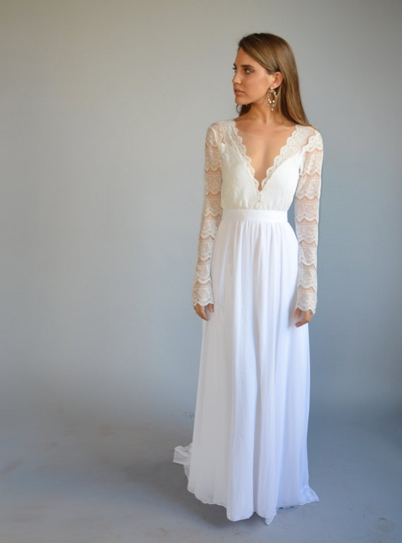 Boho wedding dress bohemian wedding dress lace wedding boho wedding dress bohemian wedding dress lace wedding dress long sleeves wedding dress deep v neck line chiffon wedding dress junglespirit Images