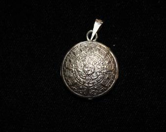 Silver Aztec Calendar Pendant