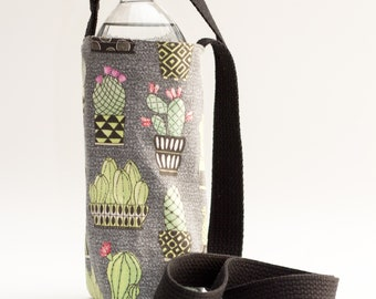 Cactus Water Bottle Sling, Cactus Blooms, Floral Green and Black Water Bottle Holder, Crossbody, Green, Black, and Red Fabrics, Handmade