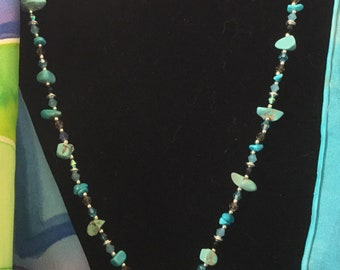 Necklace hand strung with crystals, Czech glass and marcasite and 2 hand wrapped pendants we call, Wild blue yonder....