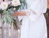 Bridesmaid Robes, Lace Bridesmaid Robes, Bridesmaid Gifts, Bridal Robe, Bridal Party Robes, Bride Robe, Cotton Robe, Bridal Party Gifts, Set