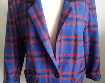 REDUCED PRICE 80's Red & Royal Blue Jenn Hsing Plaid Button Blazer Jacket