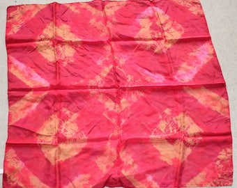 "30x30"" tie dye , 8mm  habotai silk scarf  red and gold"