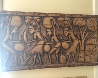 Hand Carved wood wall decor