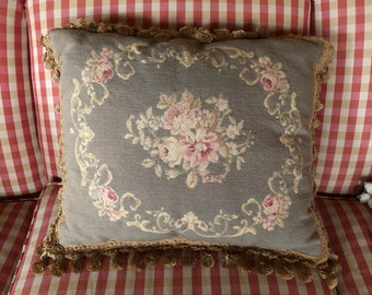 French Chic Petit Point Needlepoint Tassel Fringe Floral Pillow