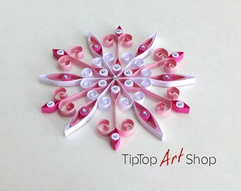 Quilled Paper Snowflake Christmas Ornament in Pink and White; Winter Decoration