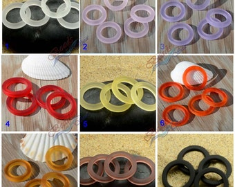 Sea Glass Rings Rainbow (27mm) 2pcs  Black Bottle-neck Style Rings Cultured Sea Glass Beach Glass Pendant Bead