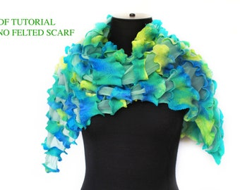 Nuno Felted Scarf PDF Tutorial DIY By FeltedPleasure Instruction With Photo