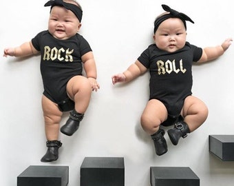 Twin Baby Gift, Twins Matching Outfit, Twin Bodysuits, Rock and Roll Matching Twins Outfits