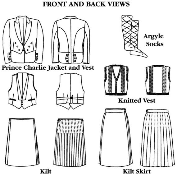 Men\'s Folkwear Scottish Kilts, Prince Charlie Jacket & Vest Sewing ...