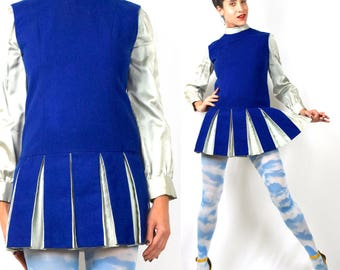 Vintage 60s Royal Blue Wool Dropped Waist Box Pleated Mini Dress with Liquid Satin Blouse 2 Piece Cheerleader Set (size small, medium)