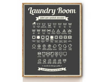 Laundry Care Symbols . Laundry Room Decor . Laundry Room Art . Laundry Room Sign . KP0090
