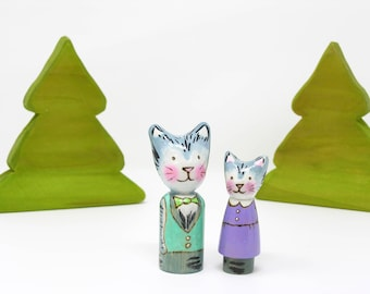 Thomas Cat, wooden peg doll, fancy animal toy, cat peg, waldorf inspired peg, cat peg doll, animal peg doll, toy cat, handmade kids toy