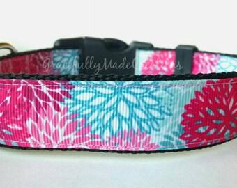 Floral Dog Collar - Adjustable Dog Collar - Pink Flowers, Blue Flowers, Summer Flowers