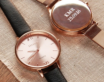 Personalised Ladies' Leather Strap Watch W001 (two line) ~ Engraved Anniversary, Birthday Gift