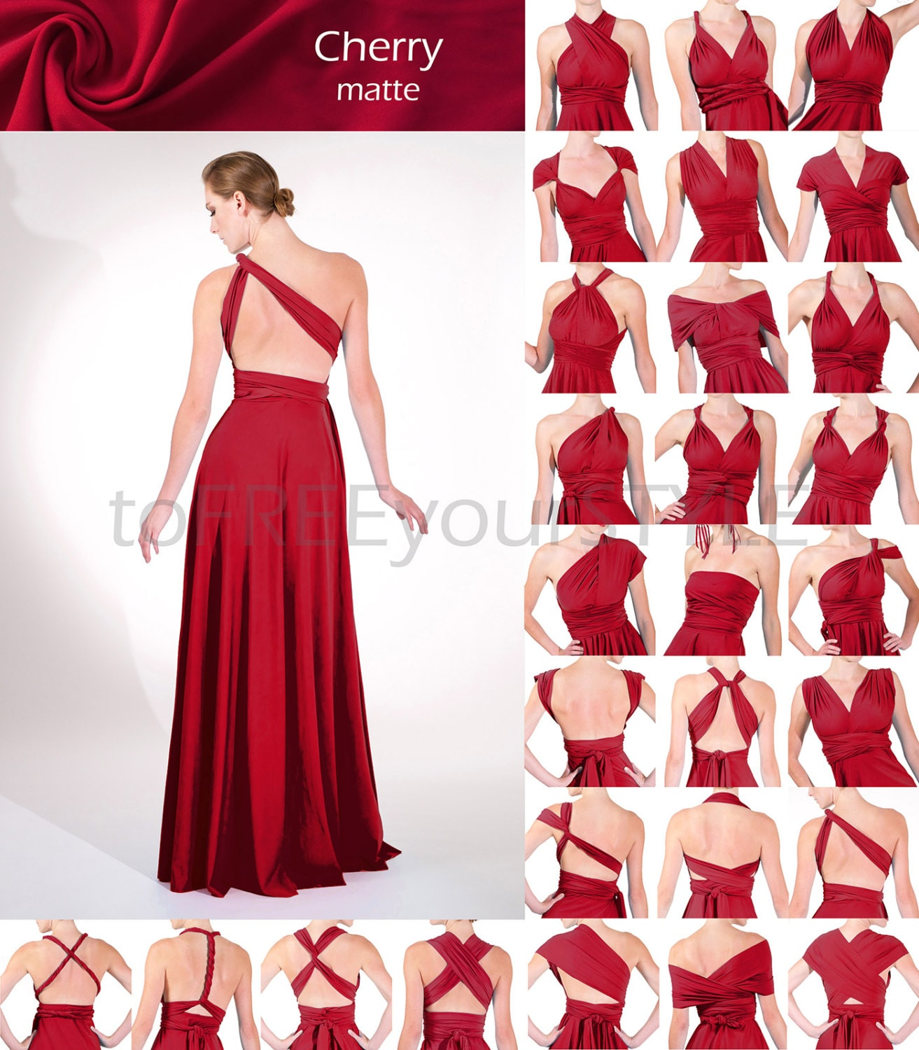 Long infinity dress in cherry red matte full free style zoom ombrellifo Image collections
