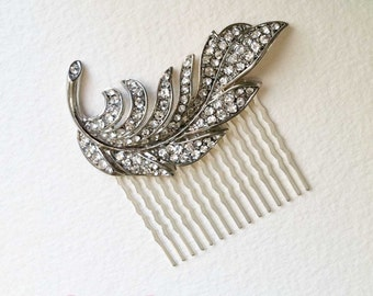 Bridal Hair Comb, Feather hair comb, Art Deco headpiece, art deco comb, wedding comb silver, crystal rhinestone SILVER SWIRL FEATHER