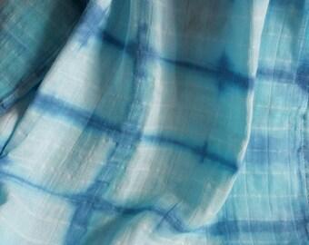 Shibori Tye Dye Baby Swaddle-Dyed Indigo Gauze-Tye Dye Blanket-Shibori Blanket-Baby Shower Gift-Blue Gauze-Muslin swaddle blanket
