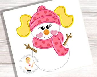 Girl Snowman with Pigtails Embroidery Applique - 3 Sizes - Instant EMAIL With Download - for Embroidery Machines