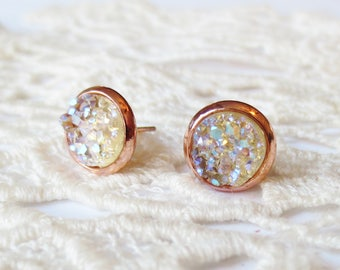 8mm Champagne Gold Earrings, Rose Gold Stud Earrings, Bridesmaid Earrings, Bridesmaid Gift, Wedding Earrings, Champagne, Nickle Free