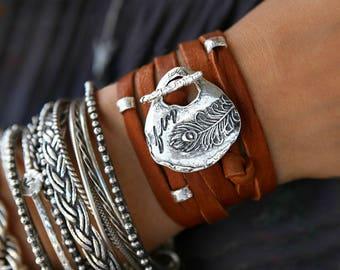 Boho Jewelry, Bohemian Jewelry, Hippie Jewelry, Gypsy Jewelry, Modern Hippie Bracelet, Leather Wrap Bracelet 5x Silver Leather Wrap Bracelet