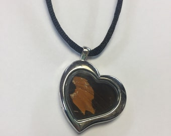 Butterfly Wing Reversible Heart Shaped Glass Locket Pendant by oldmanwithers