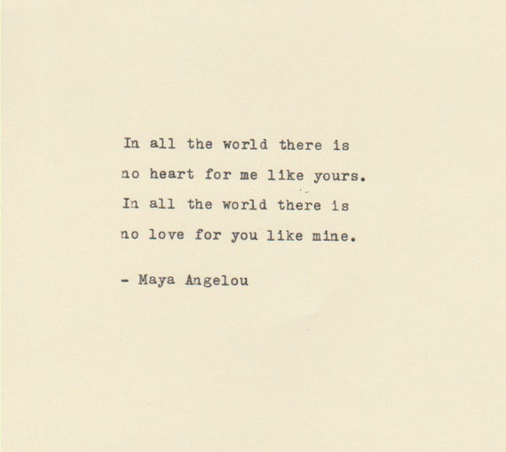 THE MAYA ANGELOU Love Quote Made On Typewriter Typewriter