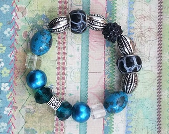 Handmade, Glass, Stone and Ceramic Bracelet Featuring Turquoise, Teal and Silver Beads