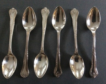 "Vintage Webber & Hill Sheffield ""Ashleigh"" EPNS Silverplated Coffee Spoons, Set of 6"