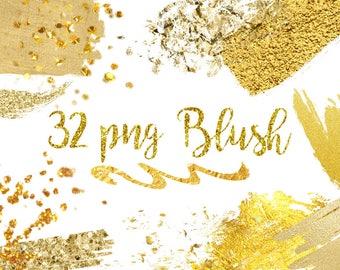 Buy 3 for 9 USD - Gold Brush Strokes Clipart, Gold Glitter Clipart, Gold Confetti, Gold splotches, Gold Splashes