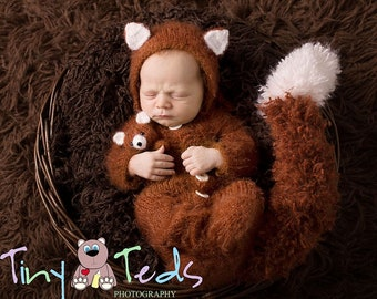 Knitted set fox, Newborn set, Photo props, Fluffy se, Newborn outfit, Fluffy outfit