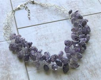 Quartz Necklace, Purple Quartz Necklace, Chunky Necklace, Statement Necklace, Wire Crochet Necklace