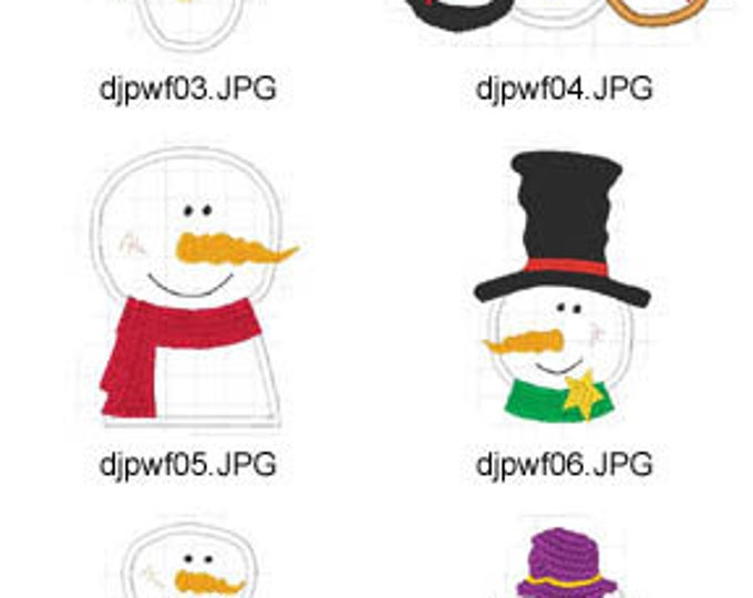 Snowman-Applique ( 10 Machine Embroidery Designs from ATW ) XYZ17E