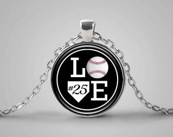Baseball Necklace, Personalized, Baseball Mom, Baseball Gift, Baseball Lover, Sports Jewelry, Number Jewelry, Baseball Player