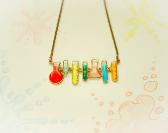 Chemistry necklace. Geek necklace. Geek jewelry. Bottle jewelry. Bright necklace.