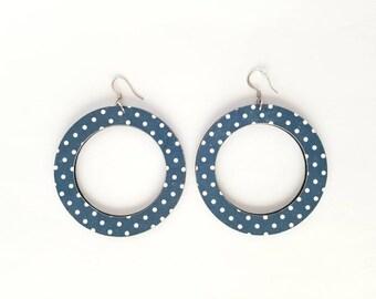 Weightlesswood, earrings,lightweight, wood,stylish,trendy, polka dots, blue earrings