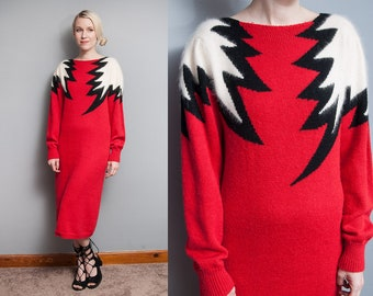 Vintage 1980's | Red B/W | New Wave | Sweater | Midi | Dress | M