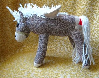 Sock Monkey Alicorn (Unicorn and Pegasus) Pony Horse Stuffed Animal Plush Doll - Rockford Red Heel Socks