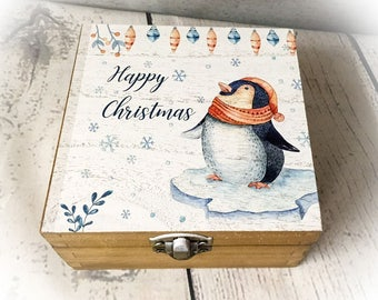 Gorgeous Cute Penguin Wooden Christmas Box - XMAS GIFT - Oak Stained