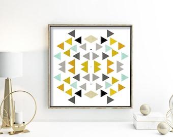 Black and teal print 12x12 geometric print poster 60s art grey and yellow kitchen wall decor mid century wall art 6x6 print blue bathroom